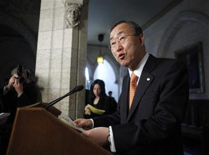 United Nations Secretary-General Ban Ki-moon speaks during a news conference on Parliament Hill in Ottawa May 12, 2010. REUTERS/Blair Gable