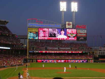 The New Scoreboard at Great American Ballpark By Cincinnati Reds (Own work) [Public domain], via Wikimedia Commons