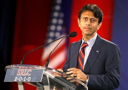 Louisiana Governor Bobby Jindal looks on as he gives a speech at the 2010 Southern Republican Leadership Conference in New Orleans, Louisiana April 9, 2010. REUTERS/Sean Gardner