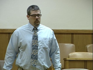 Photo of Tim Smith, accused of killing thousands of game fish in Lake Puckaway, in court.