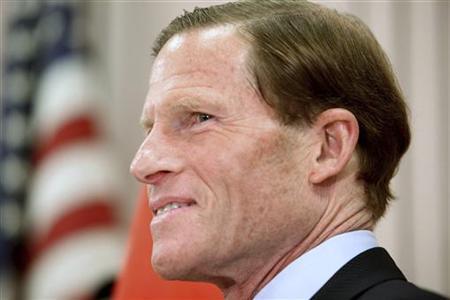 Connecticut's State Attorney General and U.S. Senate candidate Richard Blumenthal speaks to reporters at a Veterans of Foreign Wars post in West Hartford, Connecticut, May 18, 2010. REUTERS/Michelle McLoughlin