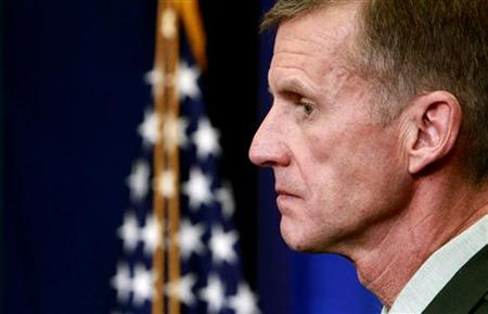 U.S. Army General Stanley McChrystal, commander of the U.S. Forces in Afghanistan, listens to a question from a reporters in the briefing room of the White House in Washington May 10, 2010. REUTERS/Kevin Lamarque