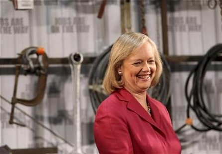 Former eBay Inc Chief Executive Meg Whitman laughs during a campaign appearance at a concrete company in Redwood City, California May 28, 2010. REUTERS/Robert Galbraith
