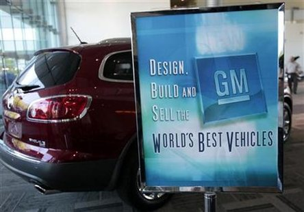 A sign with the General Motors quality mission statement stands in the lobby at the GM Warren Tech Center in Warren, Michigan May 19, 2010. REUTERS/Rebecca Cook