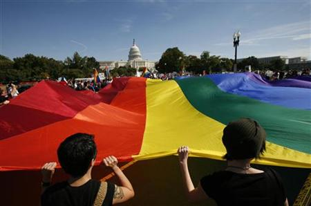 Participants carry a large rainbow flag towards the U.S. Capitol during a gay rights demonstration in Washington October 11, 2009. REUTERS/Molly Riley