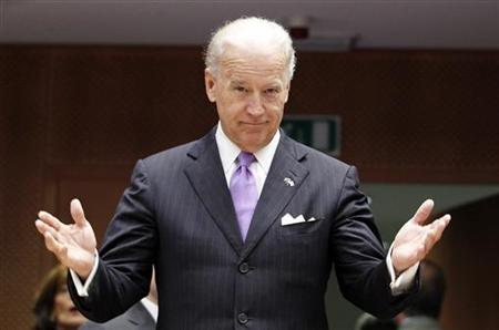 Vice President Joe Biden gestures as he arrives for a plenary session of the European Parliament in Brussels May 6, 2010. REUTERS/Thierry Roge
