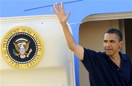 President Barack Obama waves before leaving for Germany at Cairo airport in this June 4, 2009 file photo. REUTERS/MENA/Pool