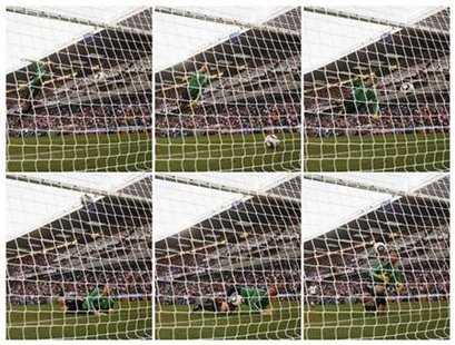 Combination photo shows Germany's goalkeeper Manuel Neuer watching the ball cross the line during the 2010 World Cup second round soccer match against England at Free State stadium in Bloemfontein June 27, 2010. REUTERS/Eddie Keogh