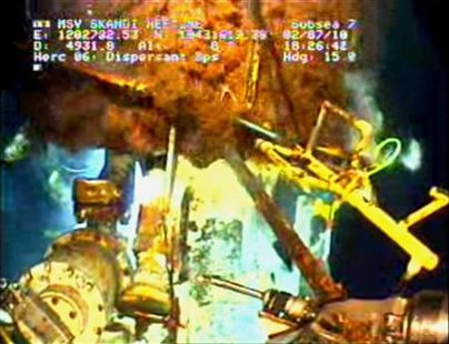 Gas and oil continue to leak at the Deepwater Horizon oil spill site in the Gulf of Mexico, in this frame grab captured from a BP live video feed in this July 2, 2010 file photo. REUTERS/BP/Handout