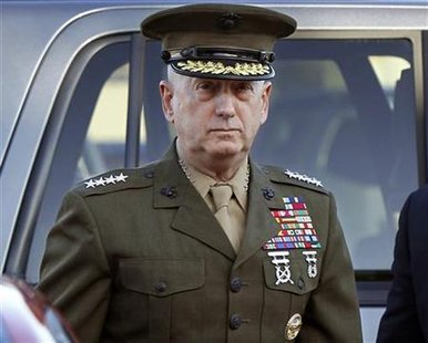 Marine Corps four-star general James Mattis arrives to address at the pre-trial hearing of Marine Corps Sgt. Frank D. Wuterich at Camp Pendleton, California March 22, 2010. REUTERS/Mike Blake