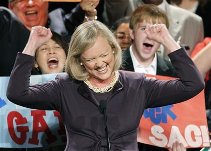 Gubernatorial candidate Meg Whitman celebrates after winning the Republican nomination for California governor in Los Angeles, California, June 8, 2010. REUTERS/Lucy Nicholson