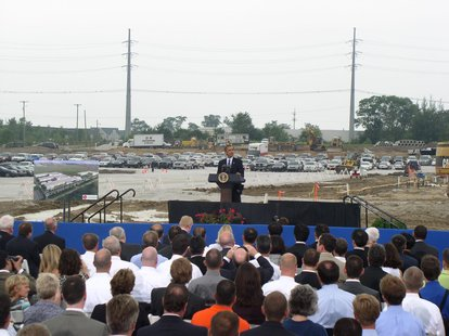 President Obama speaks at the LG-Chem's Compact Power lithium-ion battery-making plant groundbreaking on the Tulip City's far southeast corner.  July 15, 2010.