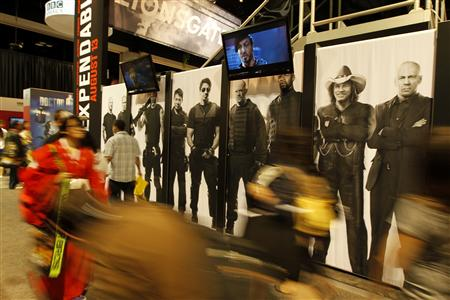 "LionsGate promotes their new motion picture ""The Expendables"" at Comic Con in San Diego, California July 22, 2010. REUTERS/Mike Blake"