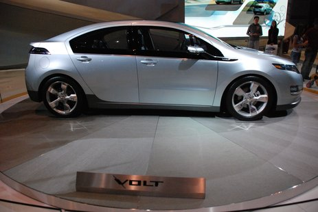 The Chevy Volt on display.