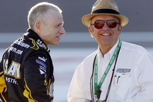 Jack Roush is seen with former teammate Mark Martin (AP Photo/Isaac Brekken)
