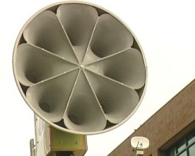 An outdoor emergency warning siren.