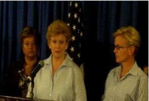 Michigan Senator Debbie Stabenow speaks as Governor Granholm and EPA Administrator Lisa Jackson look on.