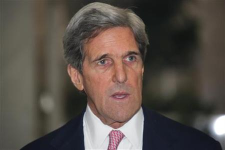 U.S. Sen. John Kerry reads a statement after a meeting Syria's President Bashar al-Assad in Damascus April 1, 2010. REUTERS/ Stringer