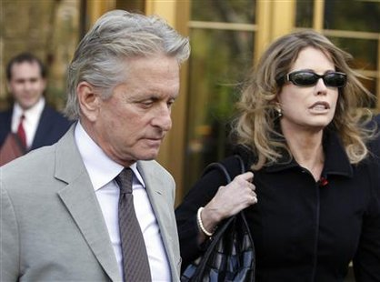 Michael Douglas and his ex-wife Diandra Douglas leave a Manhattan federal court after the sentencing of their son in New York in this April 20, 2010 file photo. REUTERS/Shannon Stapleton/Files