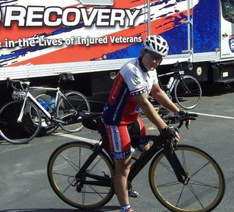 Retired U.S. Army scout Scott Buchanan rides into the Howard Johnson Inn parking lot in Rib Mountain as part of the Great Lakes Challenge Ride 2 Recovery.  The six-day tour began in Minneapolis and will end with the American Legion national convention in Milwaukee.