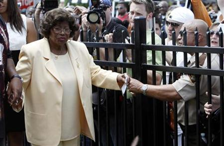 Katherine Jackson, mother of pop star Michael Jackson, attends a ceremony at the family's old home in Gary, Indiana June 25, 2010. REUTERS/John Gress