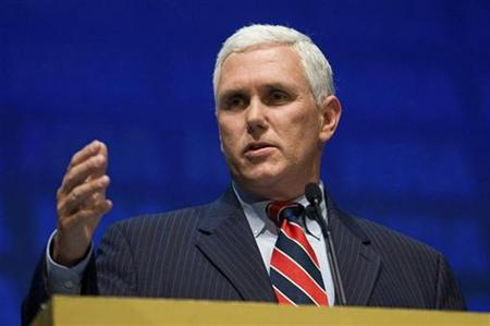 Representative Mike Pence speaks during the National Rifle Association's 139th annual meeting in Charlotte, North Carolina May 14, 2010. REUTERS/Chris Keane