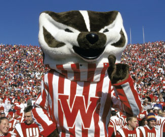 Bucky Badger, the mascot of the University of Wisconsin.