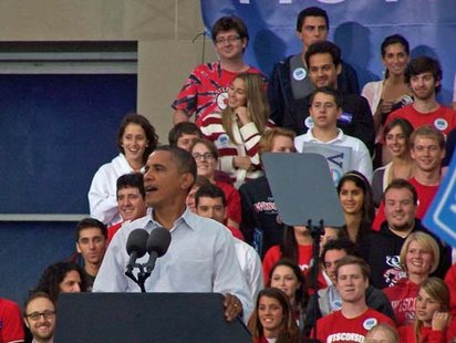 President Barack Obama at a political rally in Madison on September 28, 2010. (Photo credit: Wisconsin Radio Network)