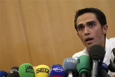 Tour de France champion Alberto Contador speaks during a press conference at his hometown of Pinto, near Madrid September 30, 2010. REUTERS/Sergio Perez