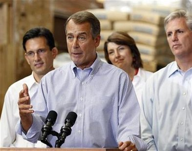 "House Republican Leader John Boehner (2nd L) outlines ""A New Governing Agenda"" for the 111th Congress at the Tart Lumber Company in Sterling, Virginia, September 23, 2010. REUTERS/Larry Downing"