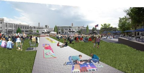 An artist's rendering of what Wausau's 400 Block will look like when it is renovated with a permanent event stage, interactive water fountain, landscaping and new plazas along 3rd and 4th Streets