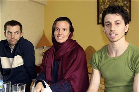 EDITORS' NOTE: Reuters and other foreign media are subject to Iranian restrictions on their ability to film or take pictures in Tehran. Shane Bauer, Sarah Shourd and Josh Fattal wait before meeting their mothers in Tehran May 20, 2010. Shourd, held with Bauer and Fattal in Iran for more than a year on suspicion of spying, left the country on September 14th after she was released on bail. The three were detained near the Islamic Republic's border