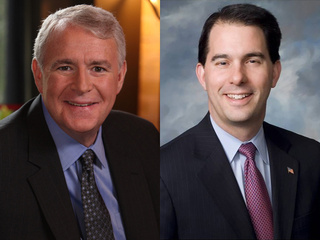 Candidates for Wisconsin governor Tom Barrett (D), left, and Scott Walker (R).