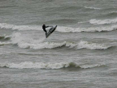 Jet Ski's out on Lake Michigan during the high winds Tuesday afternoon.