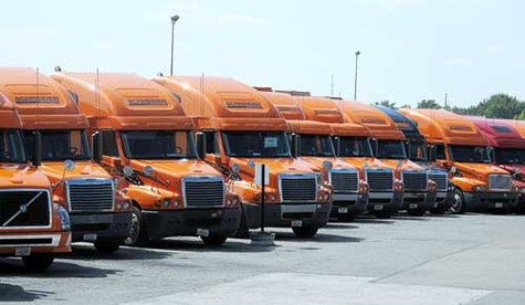 Trucks from Schneider National (courtesy of Medina Gazette).