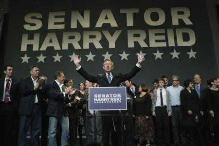 U.S. Senate Majority Leader Harry Reid, who faced Tea Party favorite Republican Sharron Angle in his race for re-election, celebrates his victory at his election night party in Las Vegas, Nevada, November 2, 2010. REUTERS/Las Vegas Sun/Steve Marcus