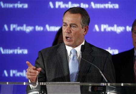 House Republican Leader John Boehner (R-OH), who broke into tears during his speech, addresses supporters at a Republican election night results watch rally in Washington, November 2, 2010. REUTERS/Jim Young