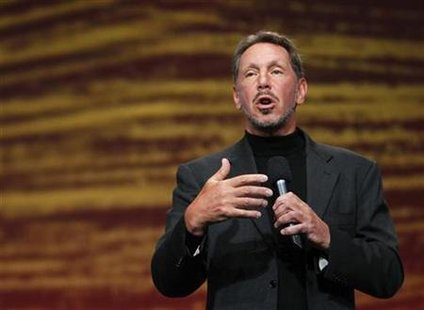 Oracle CEO Larry Ellison speaks during his keynote address at Oracle Open World in San Francisco, California in this September 22, 2010 file photo. REUTERS/Robert Galbraith