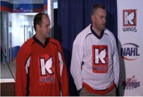 Stadium Management Group in Kalamazoo unveiled the new Kalamazoo Jr Wings jerseys as they announced the formation of the team at Wings West Thursday November 4th, 2010.