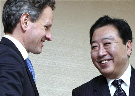 Treasury Secretary Timothy Geithner (L) is welcomed by Japan's Finance Minister Yoshihiko Noda before their bilateral talks at the Asia-Pacific Economic Cooperation (APEC) Finance Ministers meeting in Kyoto, western Japan November 6, 2010. REUTERS/Tomohiro Osumi/Pool