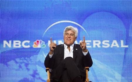 "Host Jay Leno gestures during a panel for his upcoming television series ""The Jay Leno Show"" at the Television Critics Association Cable summer press tour in Pasadena, California August 5, 2009. The series debuts on September 14. REUTERS/Mario Anzuoni"