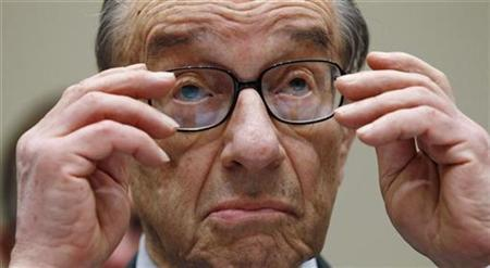 Former Federal Reserve Board Chairman Alan Greenspan listens to opening statements as he testifies on Capitol Hill, April 7 , 2010. REUTERS/Kevin Lamarque