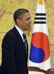 President Barack Obama is seen during bilateral talks with South Korea's President Lee Myung-bak (not pictured) at the presidential Blue House in Seoul November 11, 2010. REUTERS/Jung Yeon-je/Pool