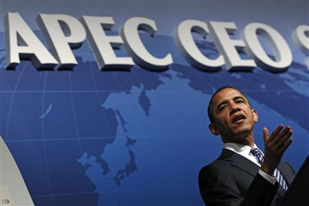 President Barack Obama delivers a speech at the APEC CEO Summit in Yokohama November 13, 2010. REUTERS/Jim Young