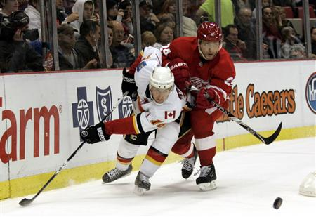 Detroit Red Wings defensman Ruslan Salei (R) and Calgary Flames center Matt Stajan case the puck around the back of the Red wings net during the second period of their NHL hockey game in Detroit, Michigan November 21, 2010. REUTERS/Rebecca Cook