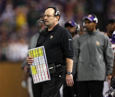 Minnesota Vikings head coach Brad Childress on the field during the Vikings'game against the Green Bay Packers in Minneapolis, November 21, 2010. REUTERS/Eric Miller