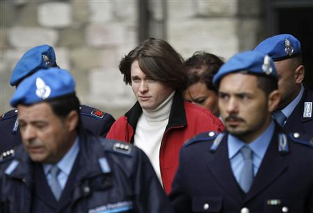 Raffaele Sollecito, the Italian student convicted of killing his British friend in Italy three years ago, leaves the court following a trial session in Perugia November 24, 2010. U.S. student Amanda Knox and former lover Sollecito returned to court on Wednesday to appeal their conviction for the murder of British student Meredith Kercher. REUTERS/Alessandro Bianchi