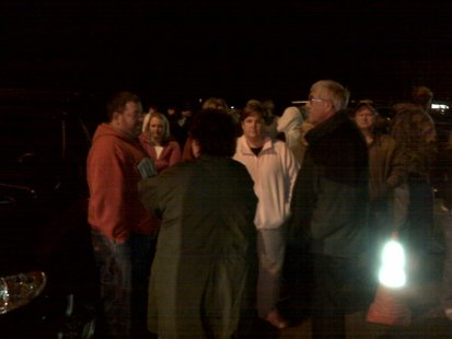 People waiting for word as a hostage situation continues at Marinette High School, November 29, 2010. (courtesy of FOX 11).