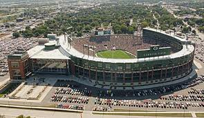 An aerial view of Lambeau Field.