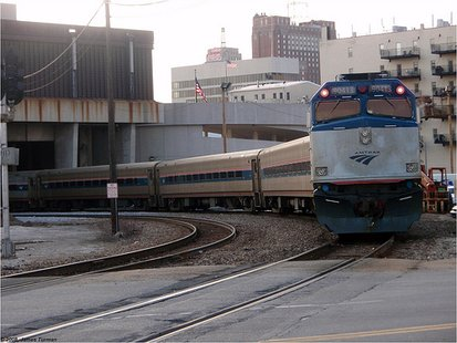 Amtrak's Hiawatha train leaving Milwaukee, WI